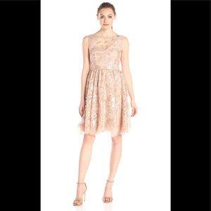 Vera Wang sequin lace illusion rose gold dress